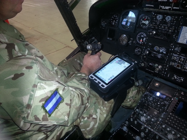 © Crown copyright - Kneemounted PC tablet for helicopter pilot.